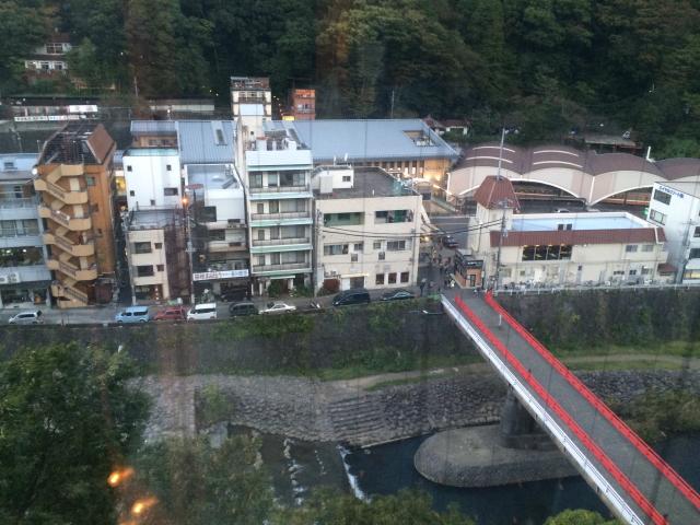ふじやホテルから湯本駅を望む