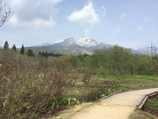 妙高山、火打山、焼山、黒姫山など2,000mを越える山々に囲まれ、ゆるやかにのびたスロープが美